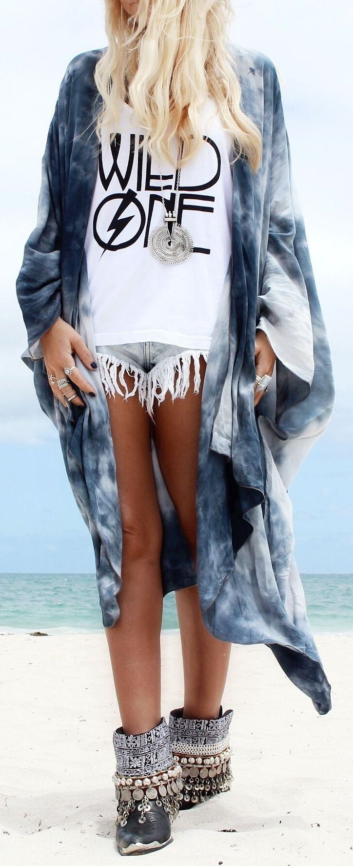 modern hippie fringe cut off jean shorts with tie dyed long kimono & short boho boots. For the BEST Bohemian fashion trends of 2015 FOLLOW > https://www.pinterest.com/happygolicky/the-best-boho-chic-fashion-bohemian-jewelry-gypsy-/ < now