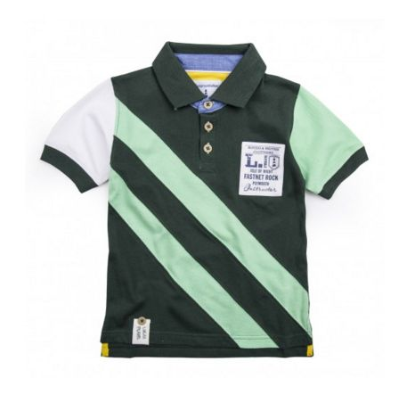 BAMBURGH POLO SHIRT - A style staple, the Bamburgh boys cotton polo shirt features contrasting sleeves, diagonal stripes and Lucas Frank appliquéd logo to the chest. #LucasFrankKids