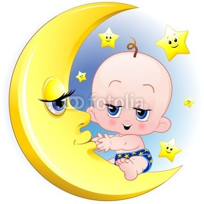 Baby Newborn on the Moon-Vector © bluedarkat