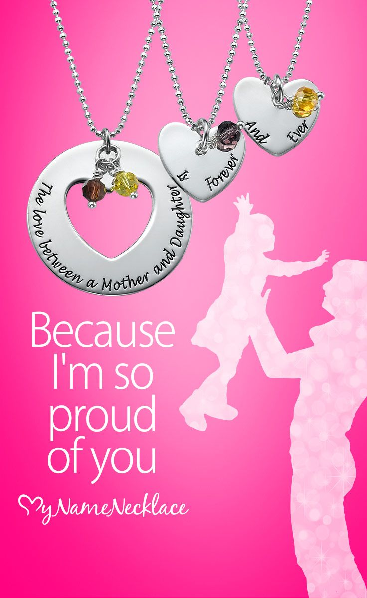 This beautiful personalized mothers necklace features one disc with a heart cut out and two small heart pendant necklaces. To make this unique gift for mom and daughters even more special, you can add birthstones to each necklace. It is a beautiful mother daughter necklace set that the wearers are sure to cherish.