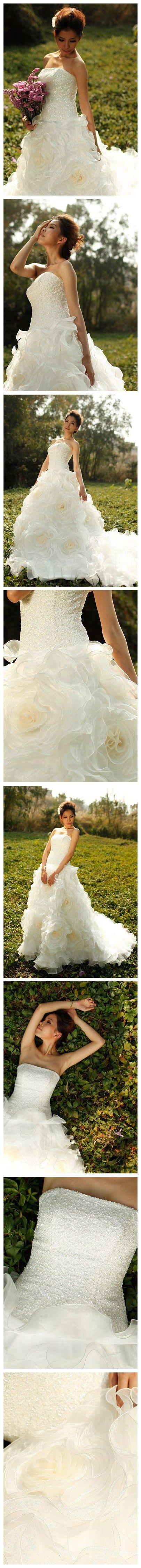Shiny Sequin Romantic Organza Full Rose Flowering Wedding Dress