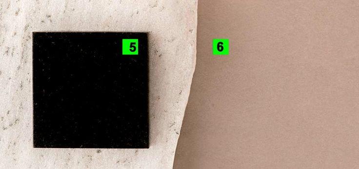 (5). Granito preto são gabriel polido. Na Mundo Oggi, preço inicial de R$ 380 o m² para uso em bancadas. (6) Mistura que imita cimento queimado (ref. 931), da Terracor. De R$ 65 a R$ 95 por m² aplicado em São Paulo (conforme a quantidade), pela a estufa.