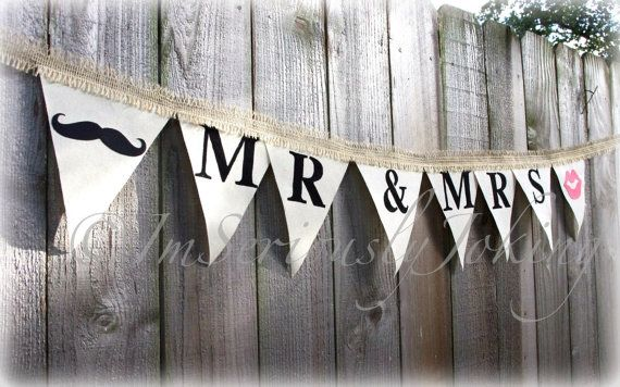 Mr and Mrs Lips and Mustache Wedding Banner - Wedding Party Banner