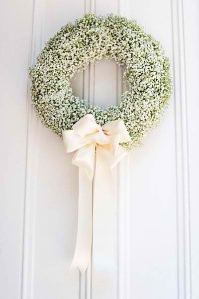Baby's breath wreath, simple elegance. A lot like the one we had at our alter of our wedding :)