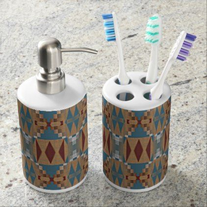 Teal Dark Red Tan Brown Ethnic Mosaic Pattern Soap Dispenser & Toothbrush Holder - trendy gifts cool gift ideas customize