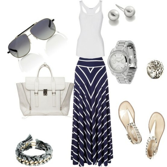 Outfit: Navy And White, Fashion, Style, Clothing, Cruise Wear, Long Skirts, Spring Summer, Summer Outfits, Maxi Skirts