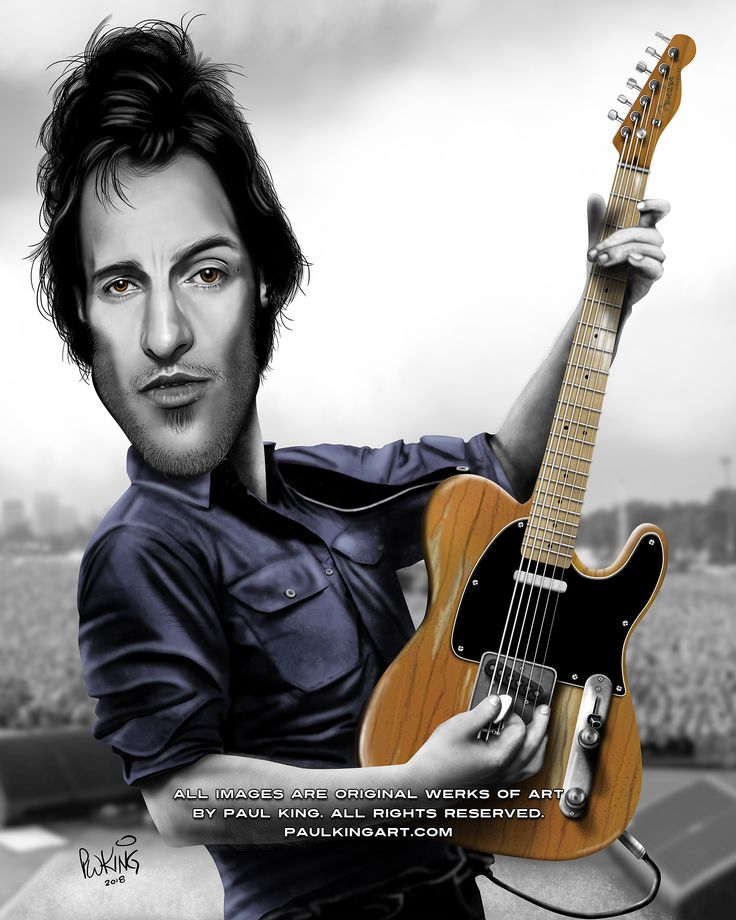 Bruce Springsteen Caricature, 1976 age 26 with his iconic 1957 Fender Tele mutt with a Telecaster body and an Esquire neck, purchased at Phil Petillo's guitar shop for one hundred and eighty five dollars in 1973. 40 years later the guitar has been insured for over $1 million dollars.  Springsteen is an American singer-songwriter, known for his work with the E Street Band.