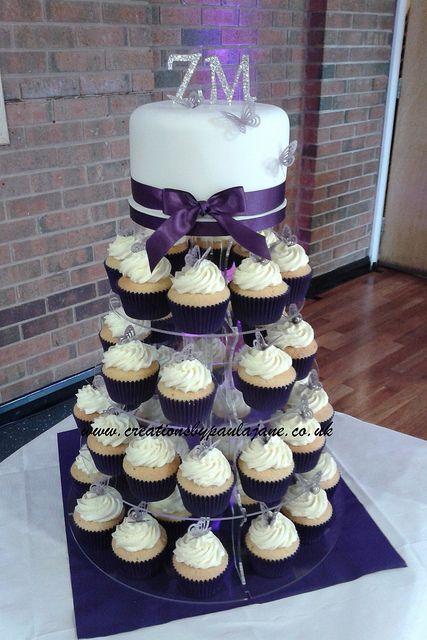 Purple Cupcake Tower Wedding Cake