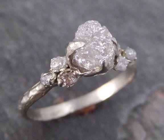 raw diamond white gold engagement ring rough gold wedding ring diamond wedding ring rough diamond ring - Wedding Diamond Rings