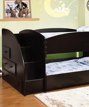 Look at this #zulilyfind! Black Bunk Bed with Drawer Staircase #zulilyfinds