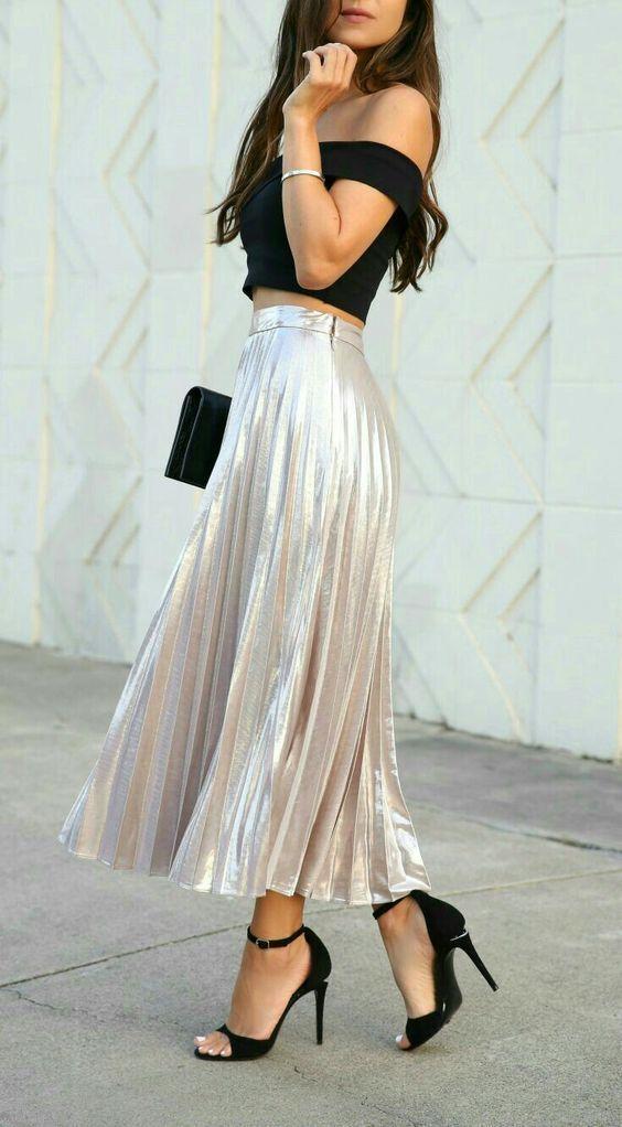 25 Most Beautiful Long Crop Tops Skirt Dress Ideas…