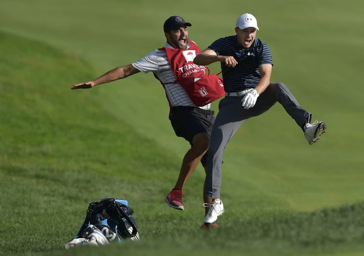 Jordan Spieth And His Caddy Reacting To Holed Bunker Shot