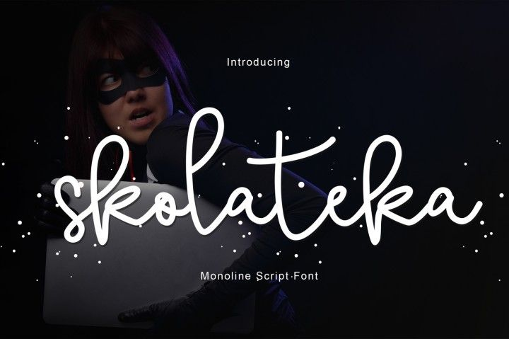 Introducing Skolateka Script Skolateka Script a new fresh & modern script with a handmade style, decorative characters and a dancing baseline! So beautiful on invitation like greeting cards, branding materials, business cards, quotes, posters, and more!!