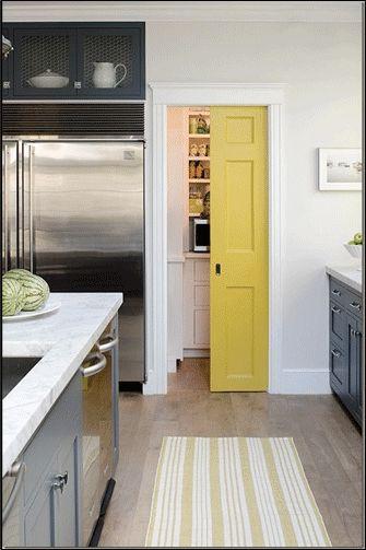 Kitchen Pantry Door, love the idea of having a painted pantry door.