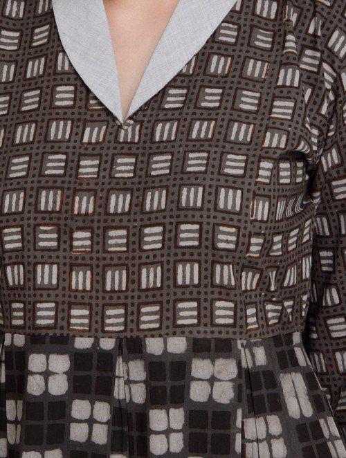 Brown-Ivory Shawl Collar Block Printed Cotton Dress