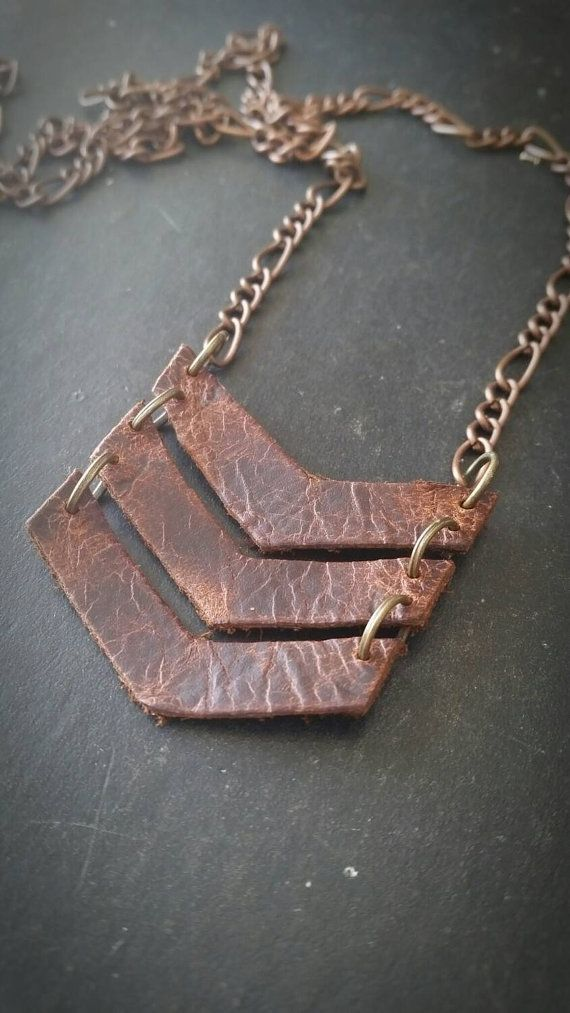 Essential Oil Diffuser Statement Necklace * Leather Chevron --- Aromatherapy…