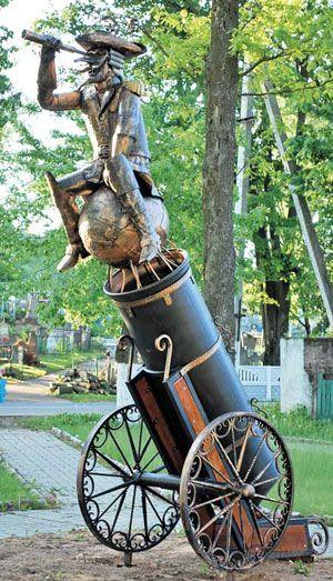 Памятник Мюнхгаузену появился в Глубоком (Беларусь)
