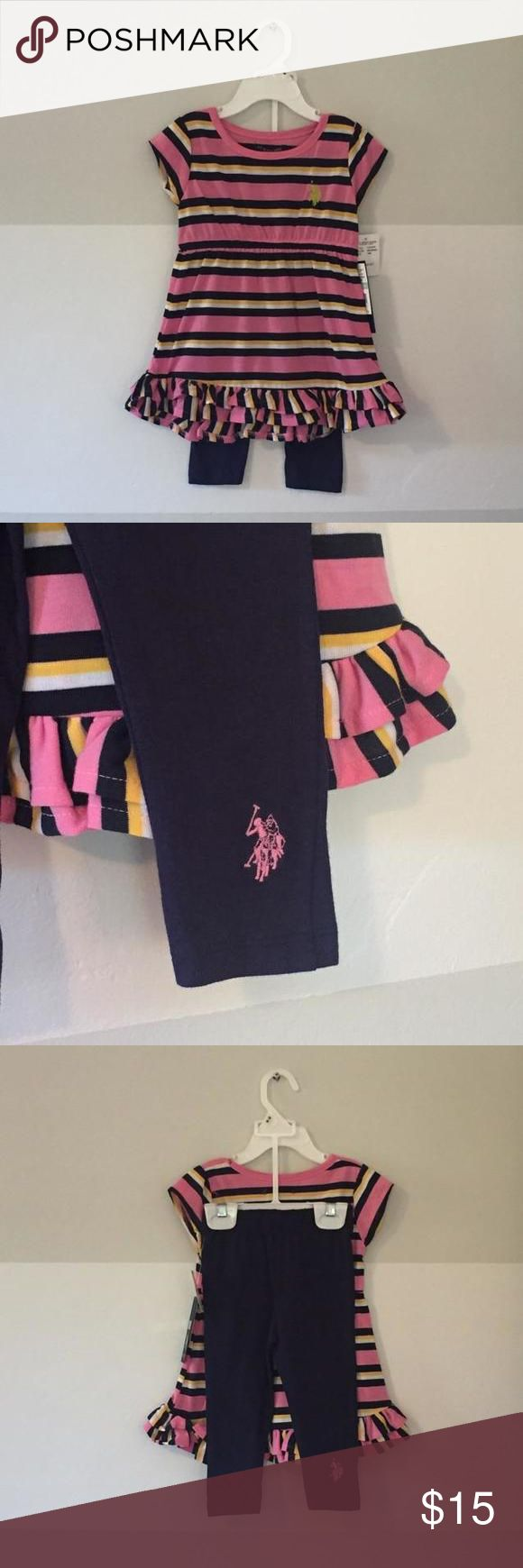 NWT U.S. Polo Association Set Pink, blue, yellow, and white striped tunic top with ruffle accents. Matching navy blue leggings. Both pieces have polo emblem. New with tags. U.S. Polo Assn. Matching Sets