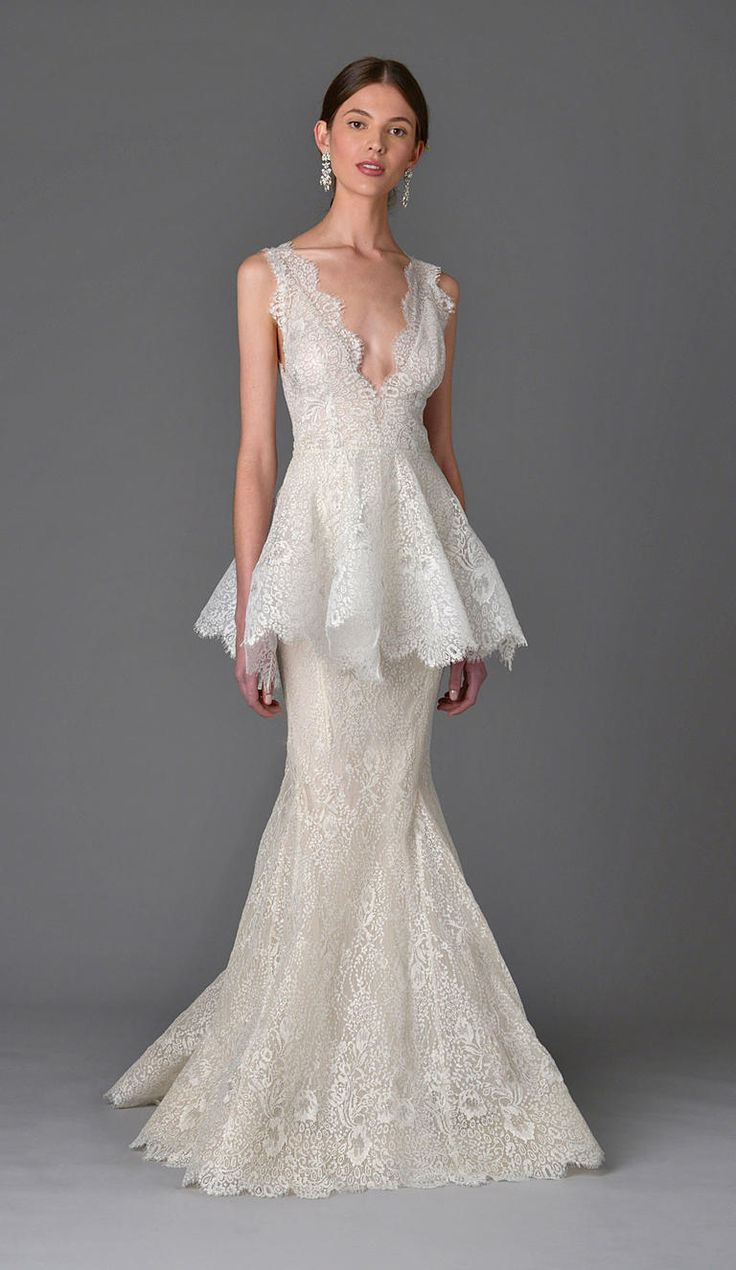 See marchesa 39 s seriously romantic wedding dresses for for Peplum dresses for weddings