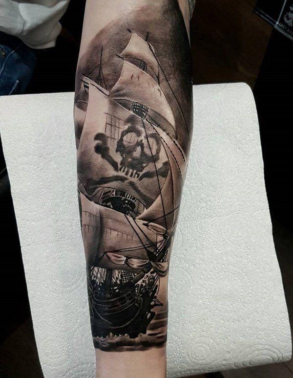 Boat sleeve tattoo - 100 Boat Tattoo Designs