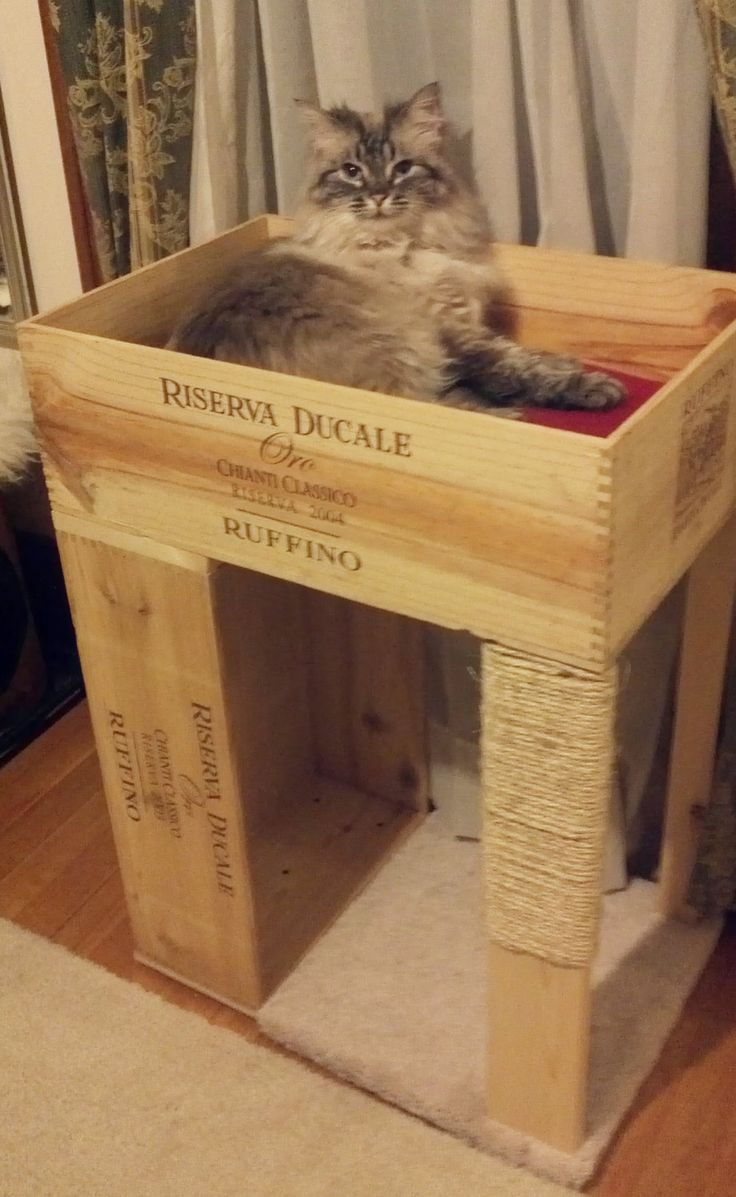 The Original Wine-Crate Cat Condo, with Cat Scratcher. $65.00, via Etsy.
