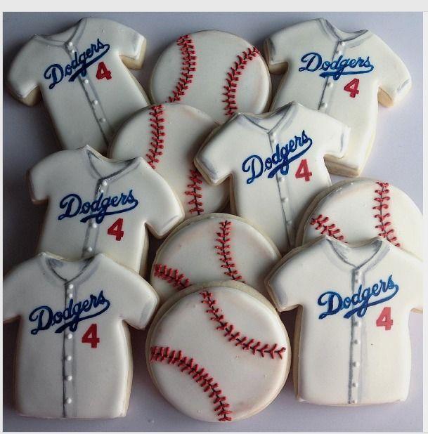 "Tara on Instagram: ""Play ball!! ⚾️❤️ #butimagiantsfantho #cookies #royalicing #baseballcookies #dodgers #baseball #baseballjerseys #sugarcookies #cookiefavors"""