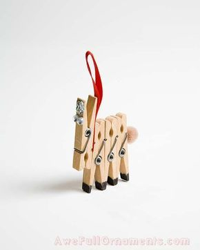 DIY Christmas ornament from clothes pegs | DIY Esel aus Wäscheklammern