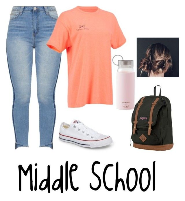 """Middle School Outfits"" by bellebradley on Polyvore featuring Converse, JanSport and Kate Spade"