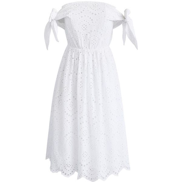 Chicwish Eyelet Catcher Off-shoulder Dress in White ($51) ❤ liked on Polyvore featuring dresses, white, day summer dresses, off the shoulder dress, eyelet dresses, off shoulder dress and summer dresses