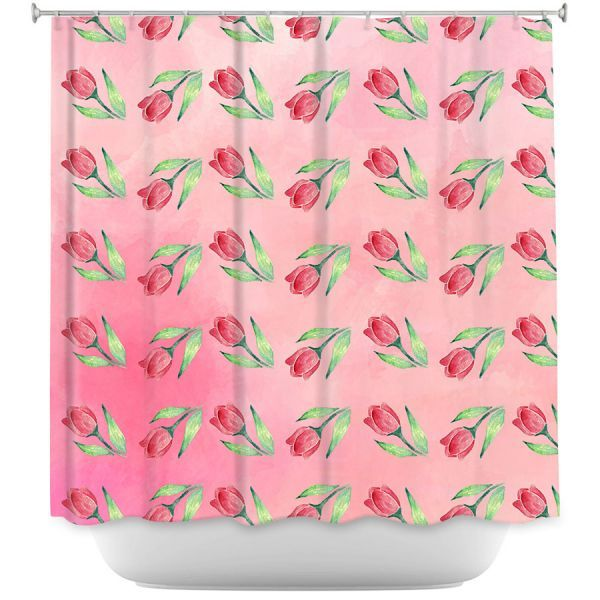 Cool Funky Shower Curtains | Sylvia Cook - Pink Tulips | Floral Pattern Spring