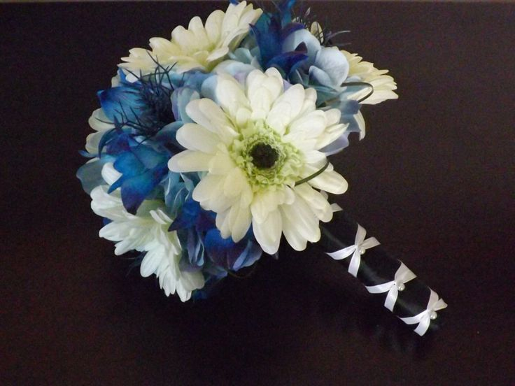 Gerbera daisy, blue galaxy orchid, hydrangea and thistle bouquet, bridal bouquet, choose your orchid by UYFlowersByNicole on Etsy https://www.etsy.com/listing/178332380/gerbera-daisy-blue-galaxy-orchid