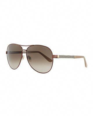 5585bd9d3e23 Jimmy Choo Lexi Aviator Sunglasses with Crystal Temples  JimmyChoo ...