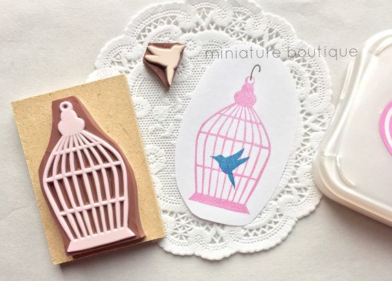 Bird Cage Bird Scrapbook hand carved stamp by miniatureboutique