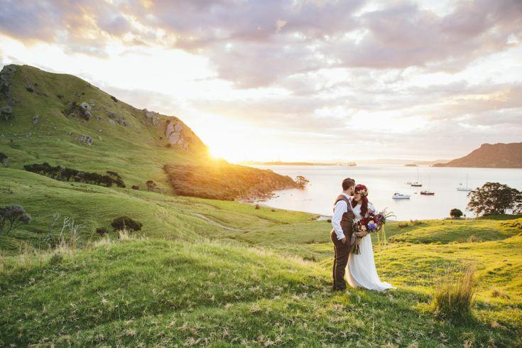 Beach wedding in New Zealand.