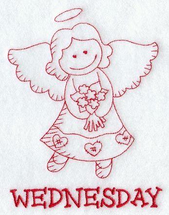 Heavenly Angel on Wednesday (Redwork)