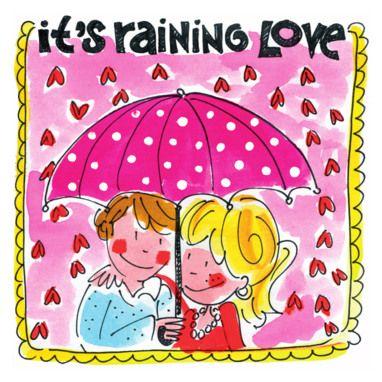 Koppel onder een paraplu in een regen van hartjes- Greetz