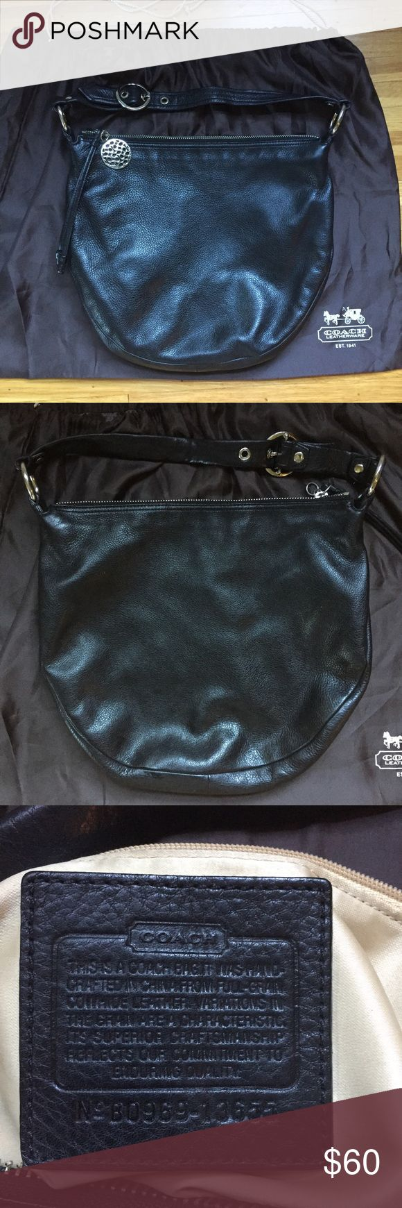 Coach Pebbled Leather Hobo Coach hobo bag with black pebbled leather. Very soft. Gold satin interior. Exterior in excellent condition, but some spots and pen marks inside. Dust bag included. Coach Bags Hobos