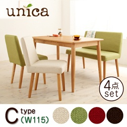【unica】ユニカダイニング4点セット【C/ベンチタイプ】[テーブルW115+カバーリングソファベンチ+チェア×2]送料無料!