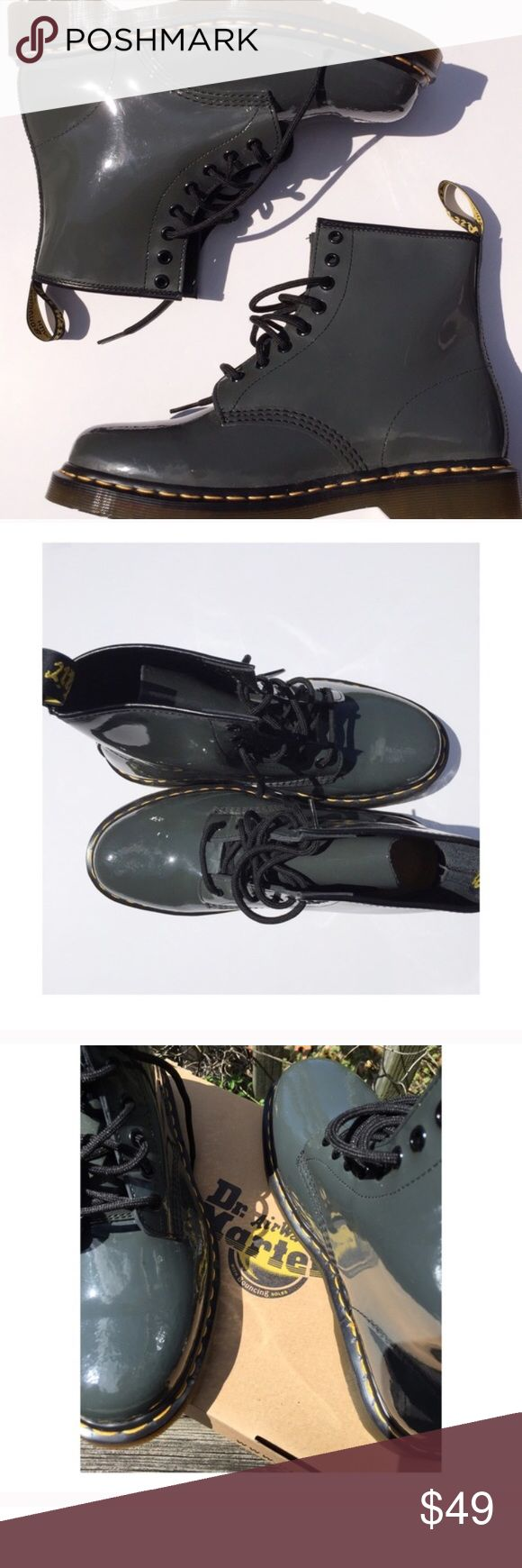 Dr. Martens Dr. Marten patient leather boots. Cool dark gray color with green/blue undertones. I've never worn these out of the house before so they're in perfect condition. Come in original box and packaging with extra shoelaces (yellow). Dr. Martens Shoes