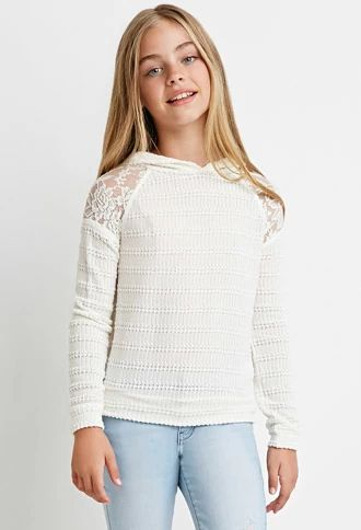 Lace-Paneled Sweater Hoodie (Kids) | Forever 21 girls | #forever21kids