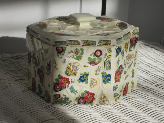 Hexagon Box with Crown Ducal English China by JosCottageCreations