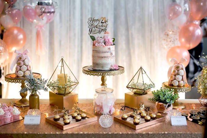 Elegant 21st Birthday Party Kara S Party Ideas Elegant Birthday Party Fun Birthday Party Birthday Party Tables