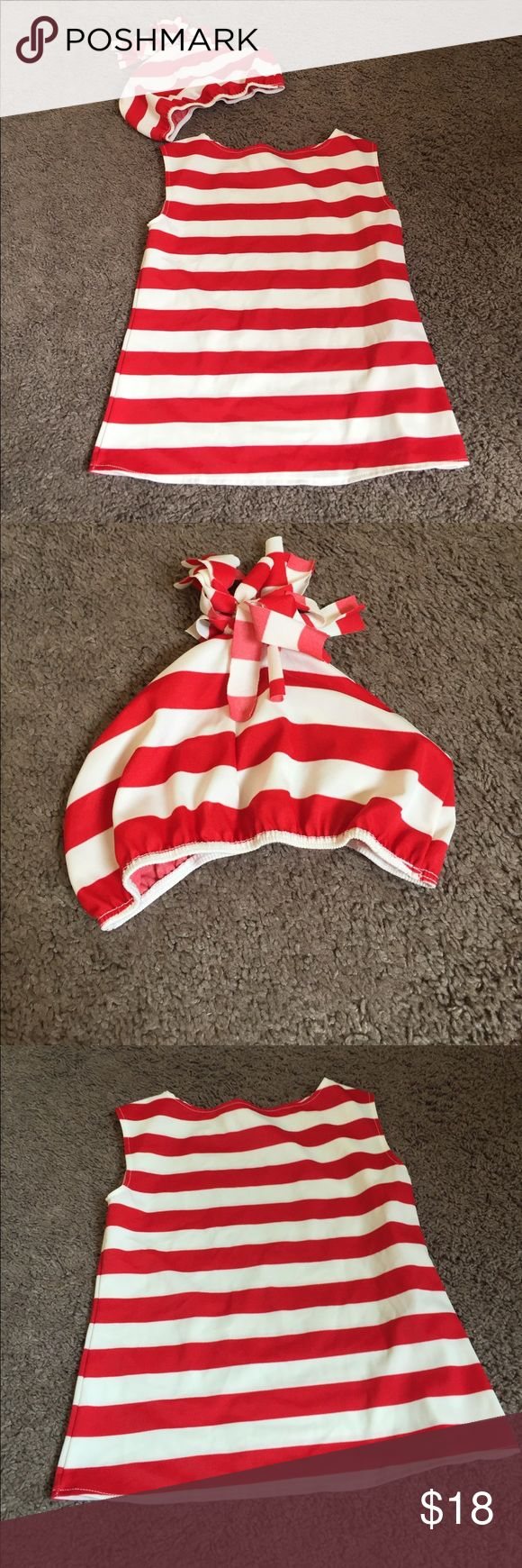 Where's Waldo kid custom In like new condition small shirt or dress depending on child size and hat. I have mom and dad Where's Waldo also listed in my closet. Lots of costumes listed in my closet. Costumes Halloween