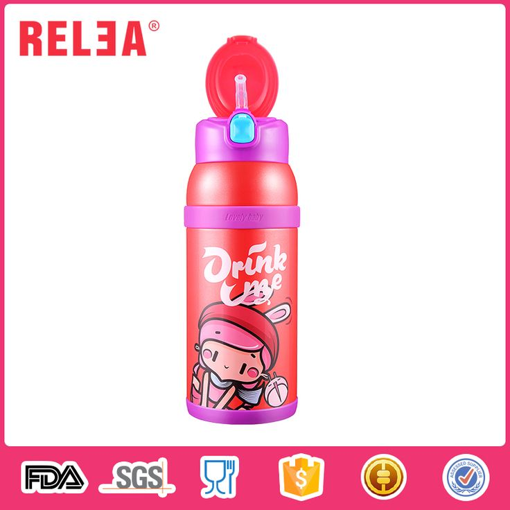 RELEA food grade 316 stainless steel double wall thermos water canteen children flask with 2 cups