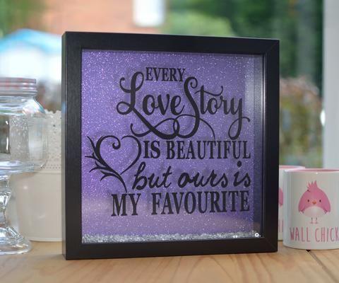 Every Love Story Glitter Frame