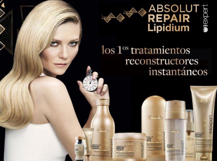 @loreal_es Llega la revolución en reparación con el nuevo Absolut Repair Lipidium.  Ya disponible toda la gama en: http://www.lapeluencasa.com/productos-loreal/productos-cabello/absolutrepairlipidium1