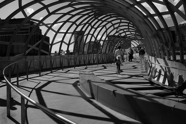 Webb Brdge Walkway, Melbourne  There's a good reason why Melbourne is considered the art and design hub of Australia. With a mix of old and new, the architecture really stands out-especially in the newer Docklands region of the City. The Webb bridge links Melbourne's Southbank and Docklands regions-and on a beautiful day like the one I was lucky enough to catch, the shadows are strong and an art in themselves.