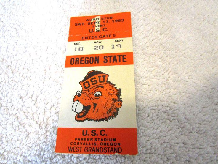 TICKET STUB Vintage 1983 Oregon State Beavers VINTAGE BEAVER LOGO #OregonStateBeavers