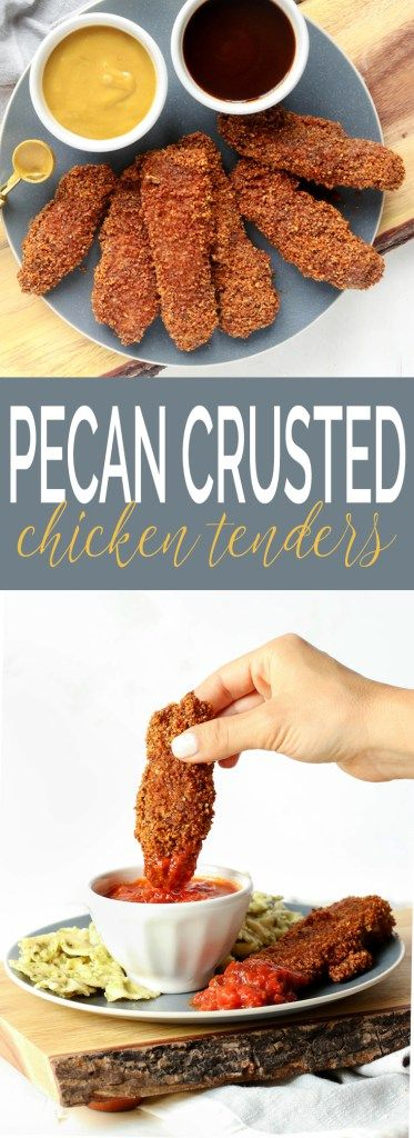 Baked Pecan Crusted Chicken Tenders are a fun (and healthy) twist on a traditional American classic. A prep-ahead option and short ingredient list make this the perfect weeknight meal.
