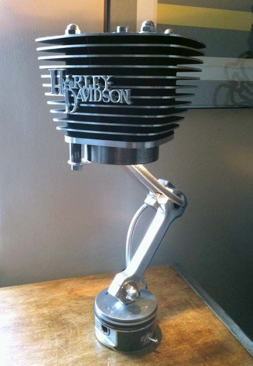 lamp MADE FROM RECYCLED HARLEY DAVIDSON PARTS                                                                                                                                                                                 More